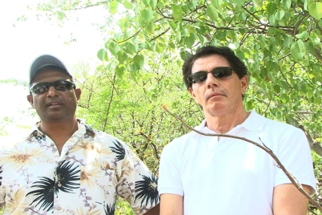 "(L-R) Canadian Global Investment's Chief Financial Officer Mr. William ""Bill"" Powdar and Chief Executive Officer Mr. Andre Reid on a field visit to Pembroke Estate site of the Company's proposed Fuel storage facility"