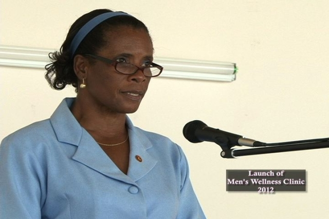 Health Educator in the Ministry of Health Ms. Shirley Wilkes delivering remarks at the launch of a Men's Wellness Clinic at the Franklyn Browne Community Centre in Combermere Village