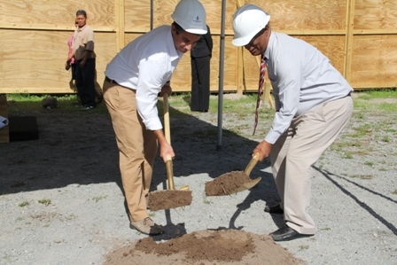 (L-R) Vice President of the Four Seasons Resort Estates Mr. David Chekemian and Premier of Nevis Hon. Joseph Parry break ground for a US$60 million Villas at Pinneys Beach project
