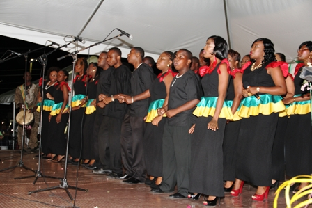 The choir performing at the official opening of the Nevis Cultural Centre at Pinneys