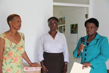 (L-R) Member of the Board of Directors of the St. Georges and St. Johns Senior Citizens Home Ms. Sheila Evelyn, Nurse Manager at the Flamboyant Nursing Home Ms. Ena Sutton and Director of the Development Projects Foundation Incorporated Mrs. Myrthlyn Parry at the handing over ceremony of gifts from Nevisian resident in the United States of America Mrs. Marylyn Walters-Drew