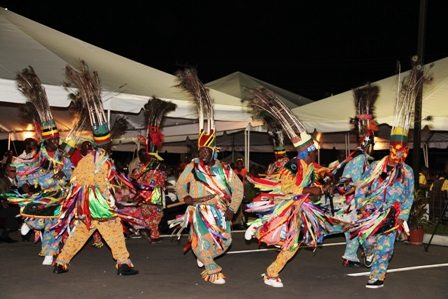 Masquerades performing at the official opening ceremony of the Nevis Performing Arts Centre on April 28, 2012