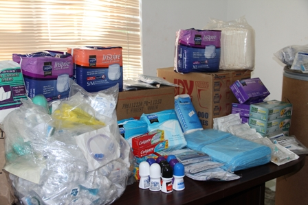 Some of the medical supplies and toiletries donated to facilities on Nevis by Mrs Marilyn Walters-Drew of Rawlins Village who resides in the USA