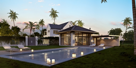 Rendering of a villa (back) at the Four Seasons Resort Estates US$60 million Villas at Pinneys Beach project