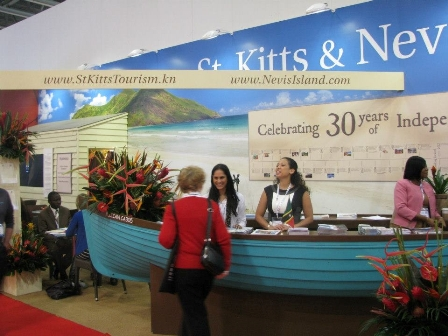 The jointly shared St. Kitts and Nevis Authorities booth at the World Travel Market 2012 at the London Excel Hotel