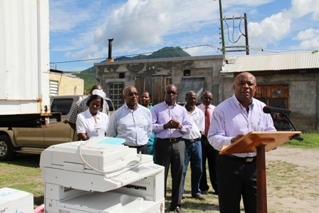 Advisor to the Ministry of Health in the Nevis Island Administration Mr. Hensley Daniel speaking at the handing over ceremony at the Alexandra Hospital. Other members of the Ministry of Health and Rotary Club of St. Kitts Officials look on