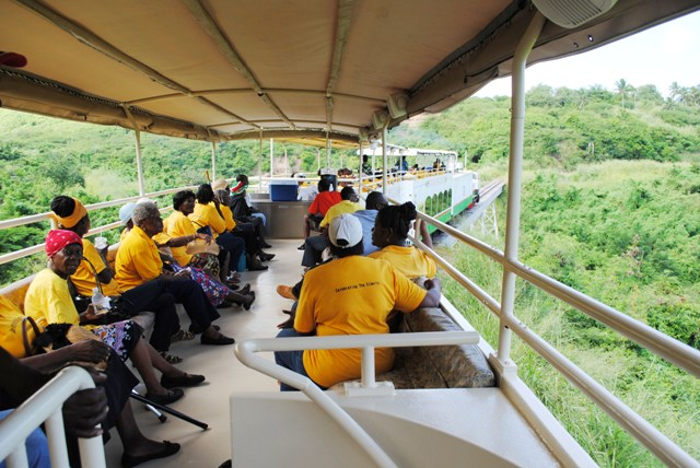 Nevis seniors on the Scenic Railway in St. Kitts.