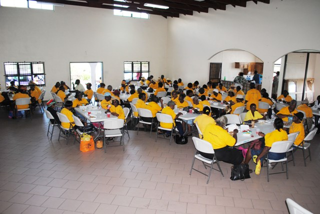 Nevis Seniors gather for lunch at the McKnight Community Center in St. Kitts on Wednesday October 31.