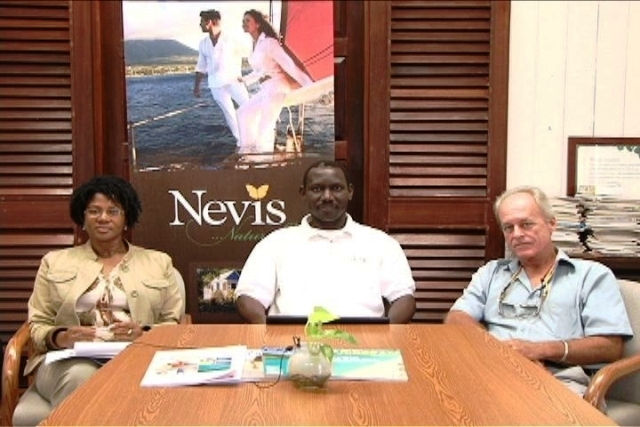(L-R) Marketing Manager for the United Kingdom Ms. Julie Claxton, Chief Executive Officer of the Nevis Tourism Authority Mr. John Hanley and Tourism Advisor to the Nevis Island Administration Mr. Alastair Yearwood three of the four member delegation to represent the Authority at the World Travel Market in London, at a press briefing at the Authority's conference room in Charlestown