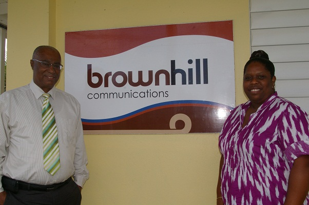 Premier of Nevis, Hon. Joseph Parry with Mrs. Chanelle Pinney-Myers outside Brown Hill Communications