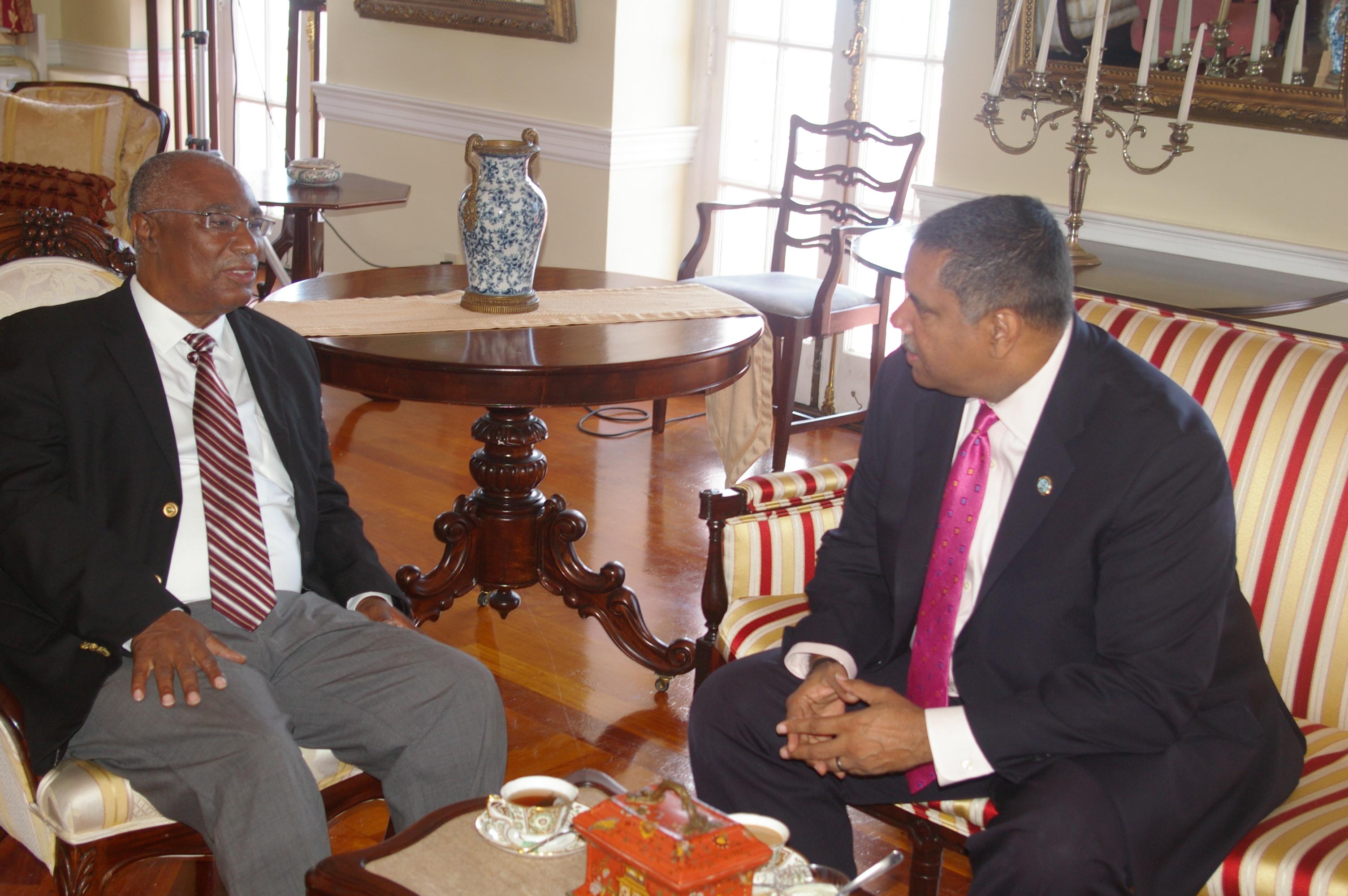 Premier of Nevis, the Hon. Joseph Parry with Governor of the United States Virgin Islands (USVI), the Hon. John P. de Jongh