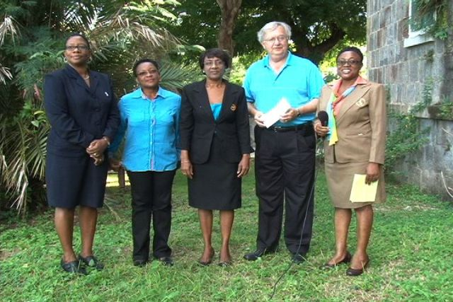 "(l-r) Tarsus Trust Co. Ltd. Office Manager on Nevis Mrs. June Hanley-Pemberton, the Nevis Renal Society's Public Relations Officer Ms. Florene Williams, Treasurer Ms. Paulette Hanley, President of the Tarsus Trust Co. Ltd. Mr. Thomas ""Tom"" Ferneau and the Society's President Mrs. Alexia Pemberton"