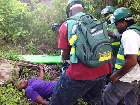 Mr. Earl Freeman volunteer fireman on Nevis (right) participates in a search and rescue simulation exercise