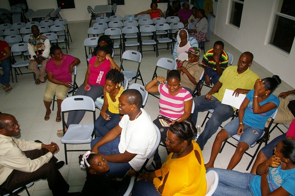 Attorney General of St.Kitts - Nevis, the Hon. Patrice Nisbett with youths of St. James Parish