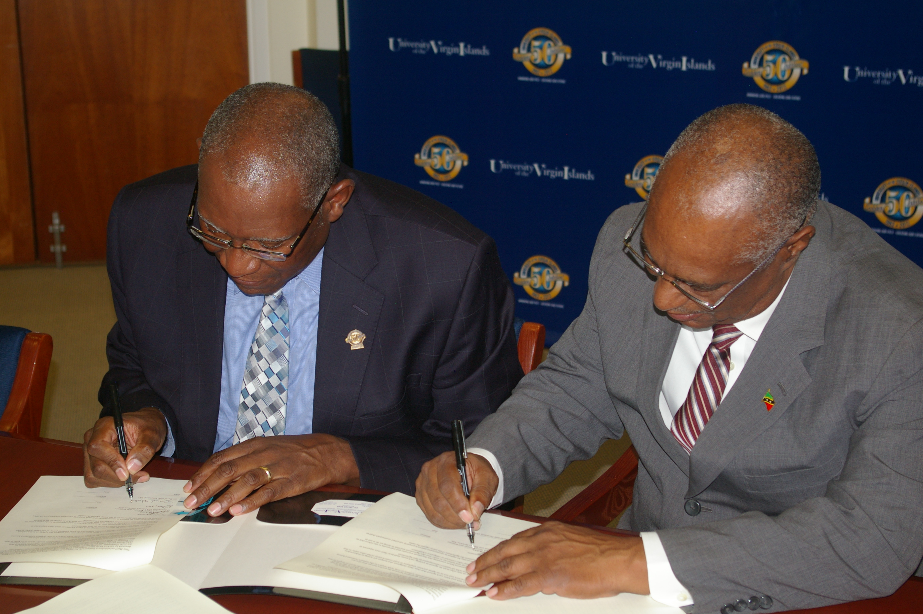 University of the Virgin Islands President, Mr. David Hall and Premier of Nevis, Hon. Joseph Parry