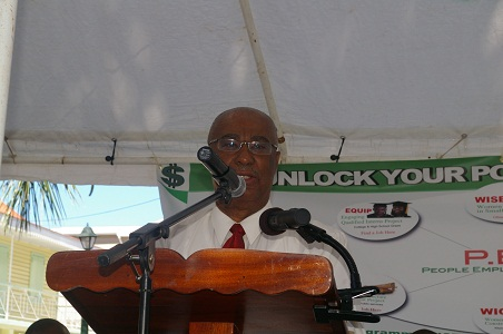 Picture: Premier of Nevis, Hon. Joseph Parry addressing the launch of PEP