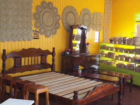 Some of the handmade craft and furniture on display at the Nevis Craft House at Pinneys Industrial Site