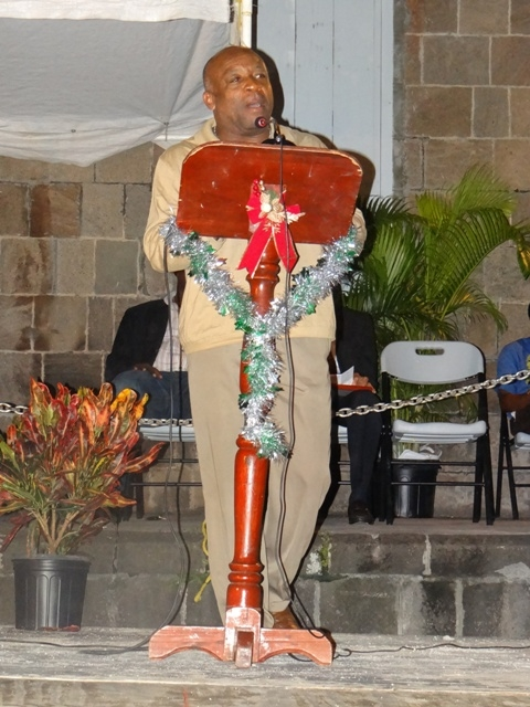 Advisor to the Premier of Nevis Mr. Hensley Daniel delivering remarks at the Christmas Tree Lighting Ceremony at the Memorial Square in Charlestown on December 10, 2012