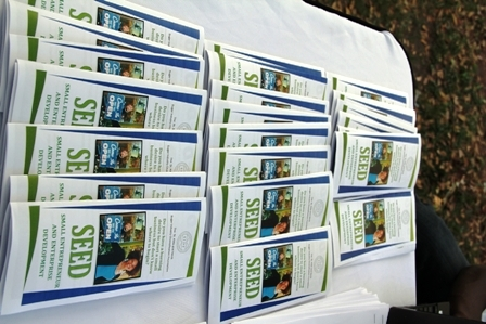 Small Entrepreneur and Enterprise Development paraphernalia distributed to the public at the initiative's official launch at the Memorial Square in Charlestown, Nevis on December 21, 2012