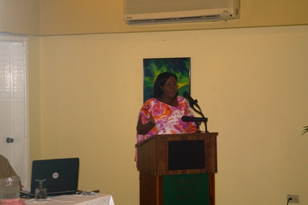 Permanent Secretary in the Ministry of Education on Nevis Mrs. Lornette Queeley-Connor delivering remarks at the 7th Annual Teachers Awards and Recognition Ceremony at the Mount Nevis Hotel on December 15, 2012