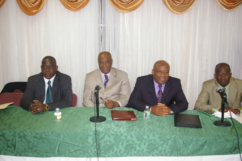(L-R) Minister of Agriculture and Housing, Hon. Robelto Hector, Premier of Nevis, Hon. Joseph Parry, Special Adviser, Mr. Hensley Daniel, and Attorney General, Hon. Patrice Nisbett
