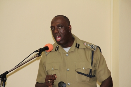 Commissioner of the Royal St. Christopher and Nevis Police Force Celvin Walwyn delivering remarks at the Nevis Divisional Headquarters in Charlestown at the annual New Year's Blessing ceremony on January 4, 2013