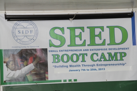 The Sugar Industry Diversification Foundation's Small Business Entrepreneur and Enterprise Development banner at the Business Boot Camp on Nevis