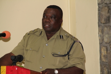Divisional Officer of the Royal St. Christopher and Nevis Police Force, Nevis Division Superintendent Hilroy Brandy delivering remarks at the Division's annual New Year Blessing ceremony at headquarters in Charlestown