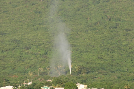 Another geothermal well with proof of geothermal energy rising from an open vent at Upper Hamilton on Nevis during exploratory work in 2008 (file photo)