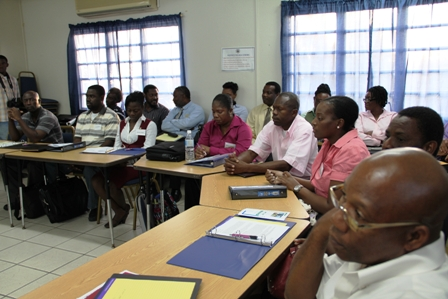 Some of the participants selected for the Sugar Industry Diversification Foundation's Small Business Entrepreneur and Enterprise Development Business Boot Camp on Nevis. Facilitators look on from the second row