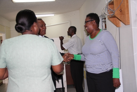 Minister of Education and Premier of Nevis Hon. Vance Amory meeting with staff at the Ministry of Education at Marion Heights