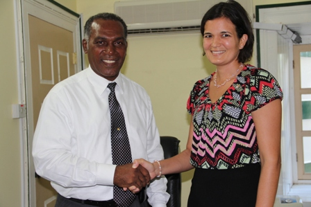 Premier Amory greets Susan Sarah Owen, Head of UWI Open Campus for St Kitts and Nevis