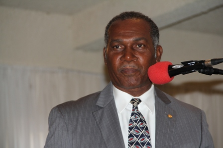 Premier of Nevis and Minister responsible for Security on Nevis Hon. Vance Amory delivering remarks at the 10th annual Police Constable Awards Ceremony and Dinner at the Occasions Entertainment Centre on February 23, 2013