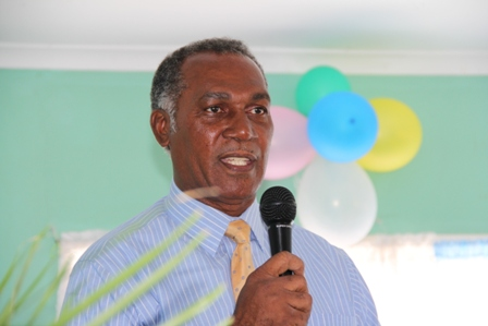 Premier of Nevis and Minister of Education Hon. Vance Amory delivering remarks at the Inaugural Induction Ceremony of the Violet O. Jeffers Nicholls Primary School's School Safety Patrol on February 4th 2013