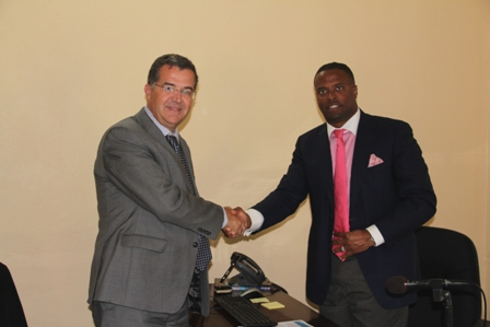 Canada's Ambassador to St. Kitts and Nevis His Excellency Mr. Richard Hanley visits with Leader of the Federal Opposition and Deputy Premier of Nevis Hon. Mark Brantley at his office at Bath Hotel, Bath Plain