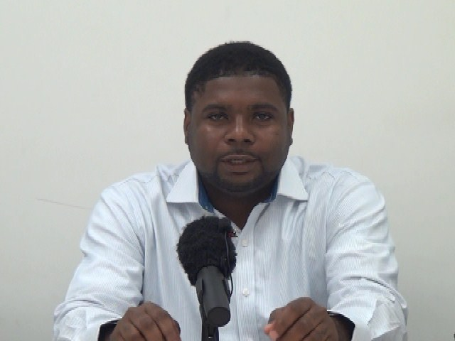 Minister responsible for Physical Planning, Natural Resources and Environment Hon. Troy Liburd at a press briefing to launch the United Nations Educational Scientific and Cultural Organization environmental conference to be held in collaboration with the Nevis Island Administration in May