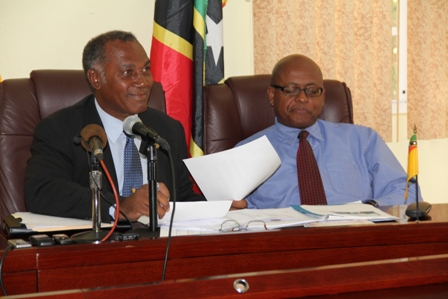 (L-R) Premier of Nevis Hon. Vance Amory and Permanent Secretary in the Ministry of Finance in the Nevis Island Administration Mr. Laurie Lawrence during the press briefing at the Government's conference room in Charlestown