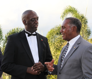 Premier of Nevis Hon. Vance Amory with Head of the Royal St. Christopher and Nevis Police Force Commissioner Celvin Walwyn moments before the start of the 10th annual Police Constable Awards Ceremony and Dinner at the Occasions Entertainment Centre on February 23, 2013
