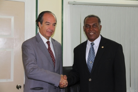 Premier of Nevis Hon. Vance Amory (r) welcomes Ambassador from the Republic of Chile to St. Kitts and Nevis His Excellency Eduardo Bonilla Menchaca at his Bath Hotel Office