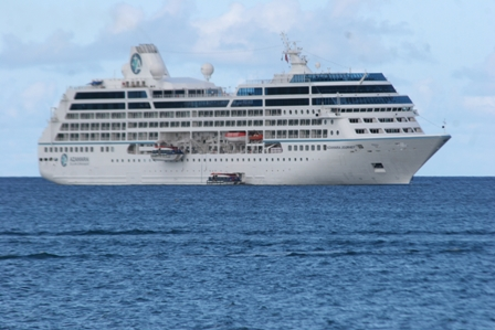 An Azamara cruise ship anchored outside of Charlestown while visiting Nevis (file photo)