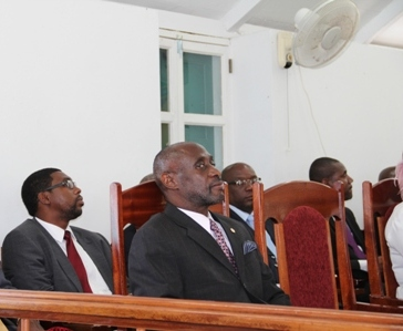 Members of the Federal Parliament (l-r) who were invited to attend the first sitting of the Nevis Island Assembly at Hamilton House in Charlestown on March 26, 2013