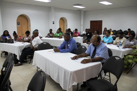 Some of the healthcare practitioners on Nevis attending a workshop on sensitisation on the OECS HIV/STI Guidelines hosted by the OECS Secretariat HIV/AIDS Project Unit in collaboration with the Ministry of Health on Nevis and the Regional Coordinating Unit, Caribbean HIV/AIDS Regional Training Network on March 26, 2013 at the St. Pauls Anglican Conference Centre