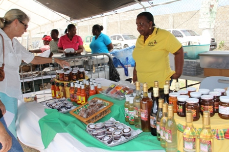 Products from Local Agro Processor on display at the Department of Agriculture's 19th annual Agriculture Open Day at the Villa Grounds in Charlestown