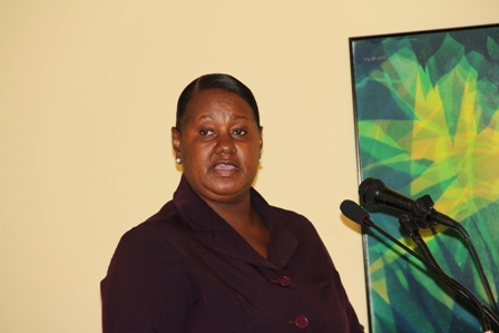 Director of Social Services in the Nevis Island Administration Ms. Sandra Maynard at the Pre-International Women's Day Symposium hosted by the Social services Department at the Mount Nevis Hotel on March 5th 2013