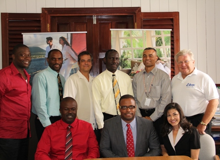 (Seated L-R) Chairman of the Board of Directors Mr. Greg Phillip, Deputy Premier of Nevis and Minister of Tourism Hon. Mark Brantley, Deputy Chairperson of the Board Mrs. L. Hall. (Standing L-R) Board Members Mr. Randy Jeffers, Mr. Colin Dore, Mr. Gary Colt, NTA Chief Executive Officer Mr. John Hanley, Mr. Ernie France and Mr. Richard Lupinacci