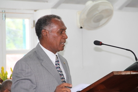 Premier of Nevis and Minister of Finance in the Nevis Island Administration Hon. Vance Amory delivers the 2013 Budget Address for the Nevis Island Administration, at the Nevis Island Assembly on April 26, 2013