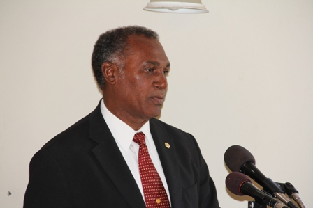 Premier of Nevis and Minister of Education in the Nevis Island Administration Hon. Vance Amory delivering remarks at the Department of Education on Nevis' Teacher Appraisal Training Workshop for education officials and principals at the Red Cross conference room
