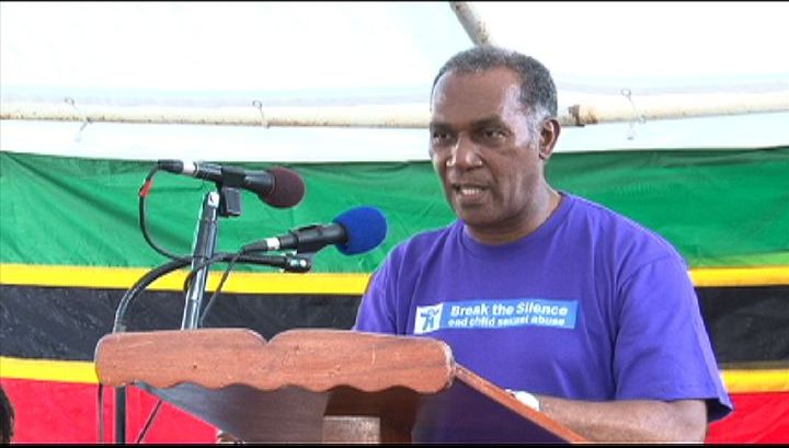 Premier of Nevis Hon. Vance Amory at the Child Abuse and Gender-Based Violence Rally at the Memorial Square in Charlestown on April 17, 2013