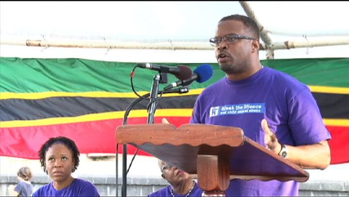 Deputy Premier of Nevis and Minister responsible for Social Services in the Nevis Island Administration Hon. Mark Brantley delivering a spirited address at the Child Abuse and Gender-Based Violence Rally at the Memorial Square in Charlestown on April 17, 2013