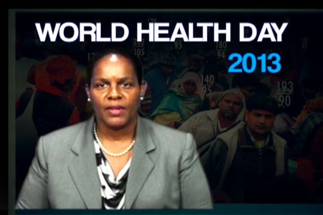 Medical Officer of Health on Nevis Dr. Judy Nisbett delivering the address to mark World Health Day 2013 on Nevis Television Channel 8